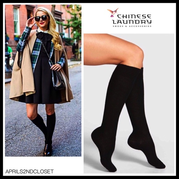 8c15cea56fd 2 PAIRS BLACK FLEECE TALL KNEE HIGH BOOT SOCKS. Boutique. Chinese Laundry